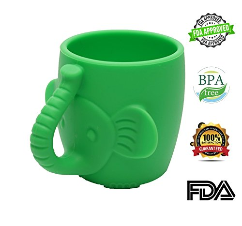 Baby Kid Sippy Cup Mug For Toddlers Learning Cup Elephant Design Great For Baby's Interaction Dexterity Food Grade Silicone BPA FREE Bambini Bear - Lime Green by Bambini Bear (Image #9)