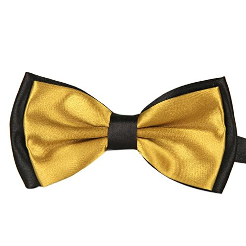 Gifts For Men ! Charberry Mens Double Color Bow Tie Men Satin Adjustable Bowtie Tuxedo Wedding Bow Tie Necktie (Gold) from Charberry