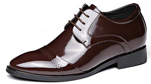 HYLM Hombres Zapatos Casual De Negocios Breathable / Inner Height / Zapatos De Los Hombres Inglaterra Zapatos De Cuero Brillantes De La Boda Lace Banquet Dress Shoes Oxford Brown