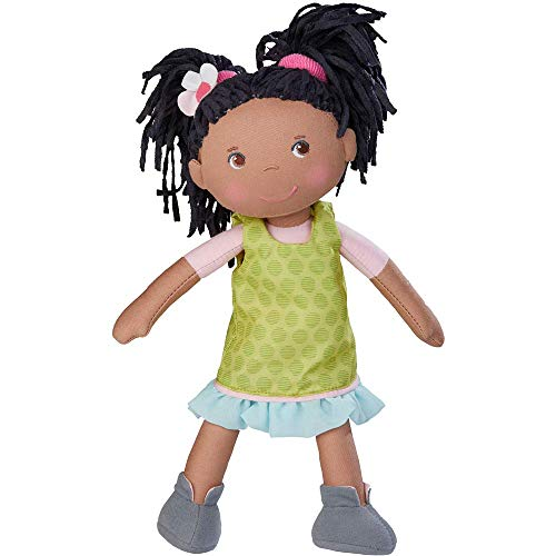 HABA Cari 12 African American Soft Doll - Machine Washable with Removable Dress, Embroidered Face, Brown Eyes and Black Pigtails