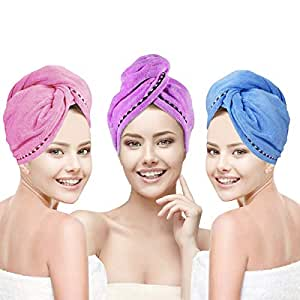 YesTree Hair Towel Wrap Turban 3 Pack Microfiber Quick Dry Hair Turban Wrap - Super Absorbent, Quick Magic Dryer, Dry Hair Hat, Wrapped Bath Cap (Blue, Purple, Rose Red)