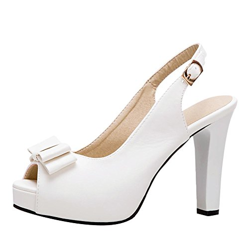 Charm Carolbar Bow Peep High Toe Elegant White Women's Court Shoes Heel rEqZEB