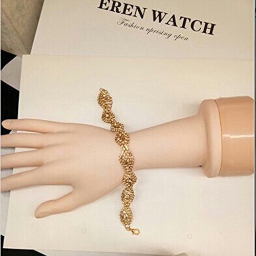 Rurah Women Fashion Roman Style Crystal Diamond Bangle Bracelets Elegant Charm Rhinestone Bracelets Gifts (Gold) (Sparkling Diamonds Bracelet)