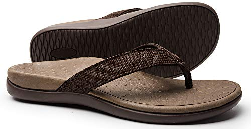 SOARFREE Plantar Fasciitis Feet Sandal with Arch Support - Best Orthotic flip Flops for Flat Feet,Heel Pain- for Women (10 M US, Brown)