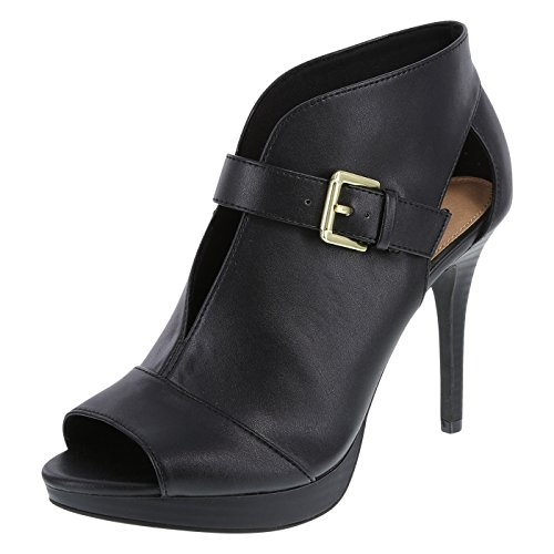Brash Womens Hayden Buckled Bootie Pump Smooth Black
