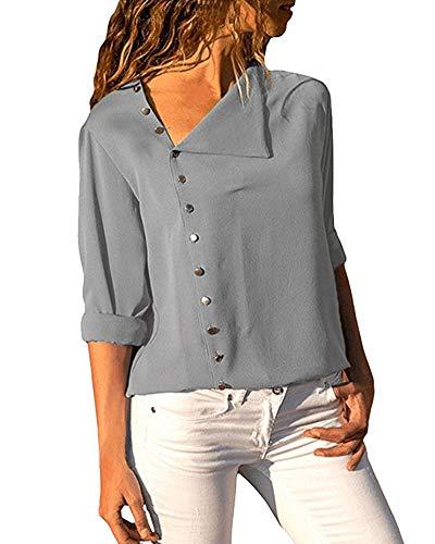 Button Mode Unie Casual Couleur Blouse Shirt Chic Gris Manches Top Femme Tunique T Up Haut Longues Chemisier xIvfq0RwWZ