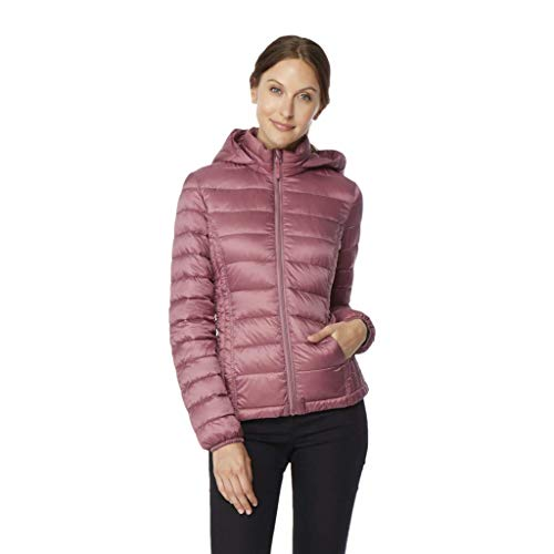 32 DEGREES Womens Ultra Light Down Packable Jacket, ARTLESS Plum, MED (Jacket Front Zip Plum)