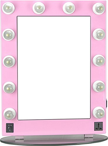 HIKER Lighted Vanity Mirror in Pink Glossy, Dimmer-HKL4301PCPK