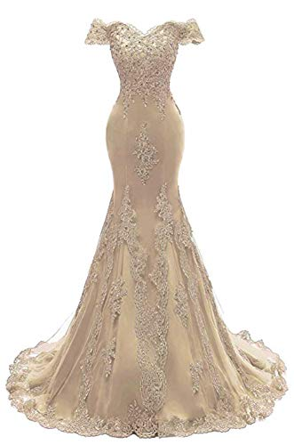 Asoiree Women's Off Shoulder Evening Gown Lace Mermaid Beading Sequins Appliques Prom Dresses Crystal Sweetheart Sleeves Champagne