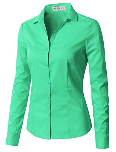 CLOVERY Women's Wrinkle-Free Long-Sleeve Button Down Shirt With Plus Size Mint XL