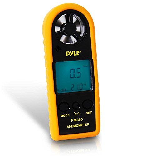 - Pyle Digital Anemometer Handheld Thermometer - Portable Handheld Meter, Wind Speed, Wind Chill, Air Temperature, Air Velocity Gauge, Wind Weather Meter with Backlight, Battery Included - PMA85