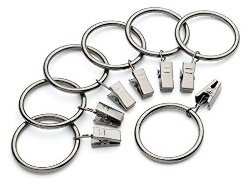 Iron Metal Curtain Clip Rings 1 1/2 Inch Interior Diameter (14, Gunmetal) - Gunmetal Metal