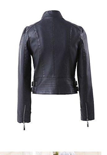 Faux Cuir Veste En Noir Femme Blouson Leather Jacquette Jacket Biker TpBt4wxq