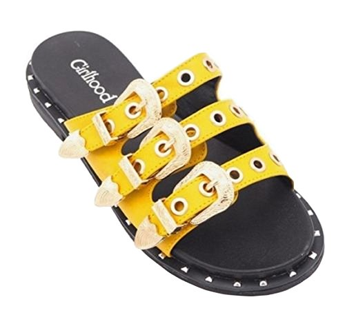Shoes Cut Womens Toe SHU Ladies CRAZY Slip On Buckle Out L93 Sandals Flat Slider Summer Studded Yellow Open Fashion Mule gXXxTqC5w