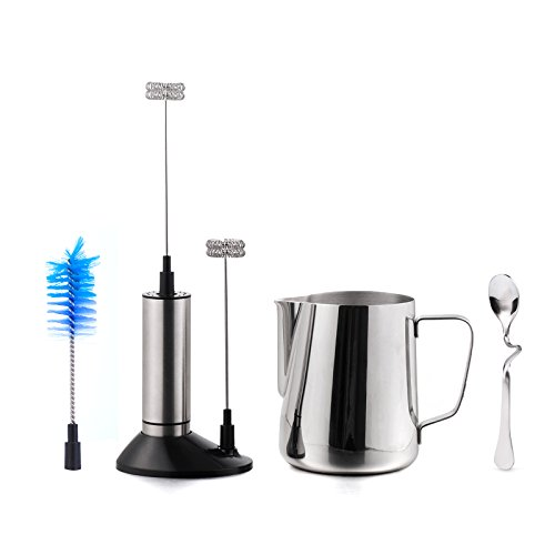 Milk Frother Set - Handheld Electric Foam Maker With Additional Single Spring Whisk Head + 304 Stainless Steel Cup Frothing Pitcher Jug 20 Oz (600 ml) + Bent Milk Tea Coffee Spoon