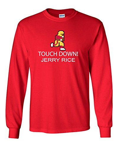 "The Silo LONG SLEEVE Red San Francisco Rice ""Tecmo Touchdown"" T-Shirt ADULT"
