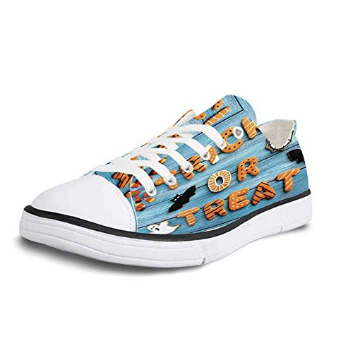 Canvas Sneaker Low Top Shoes,Halloween Fresh Trick or Treat Gingerbread Cookies on Blue Wooden Table Spider Web Ghost Decorative Man 11 -