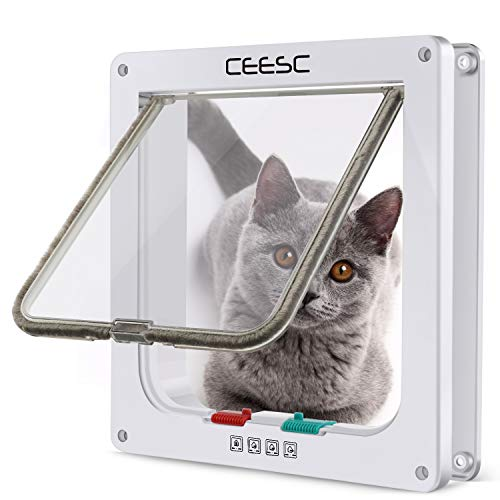 CEESC Cat Flap Door Magnetic Pet Door with 4 Way Lock for Cats, Kitties and Kittens, 3 Sizes and 2 Colors Options (M- Inner Size: 2.17