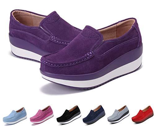 gracosy Slip-On Platform Shoes, Women's Suede Soft Toning Rocker Shoes Shape UPS Sneakers Walking Shoes Purple