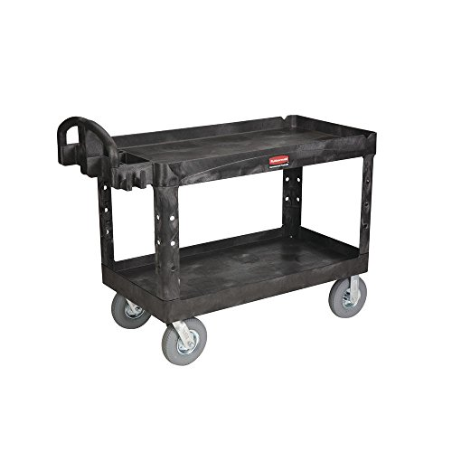 Rubbermaid Black Plastic 2-Shelf Lipped Top Heavy-Duty Utility Cart with Pneumatic Casters - 54''L x 25 1/4''W x 43 1/8''H by Rubbermaid Commercial Products