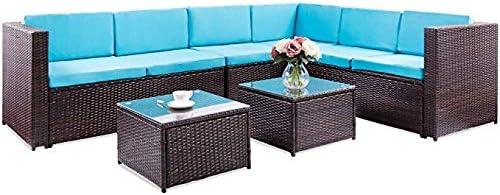 Onbang - Juego de Muebles de Exterior de 5 Piezas, Cojines Azules de Mimbre, ratán, sofá seccional, Juego de conversación de jardín con Dos mesas de té: Amazon.es: Jardín