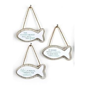 Náutica Colgante en forma de pez con texto en inglés, Quotes, diseño de caseta de playa Mar Playa (madera): Amazon.es: Hogar