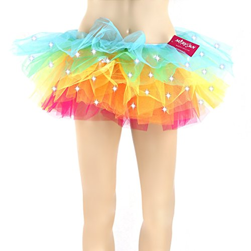 Tutus for Women, MARYSUN Adult Tutu Led Tutu Neon Rainbow Tutu Party Skirts for Girls 80s Clothes for Women,rainbow,S/M(24