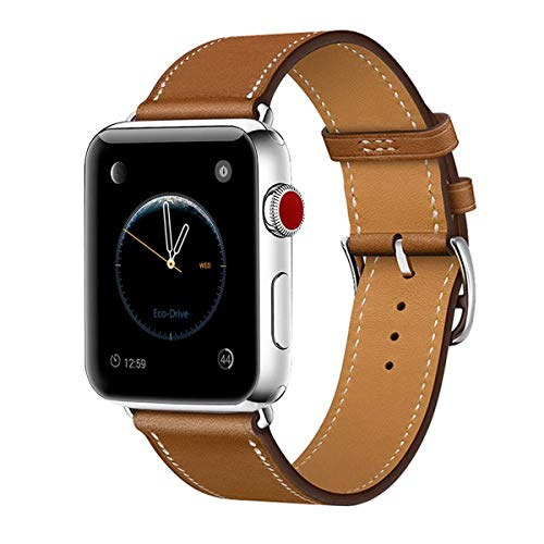 Leather Band Compatible with iWatch 40mm 38mm, Genuine Leather Strap Watch Bands Replacement for iWatch Series 4 40 mm Series 3 Series 2 Series 1 38 mm, Brown