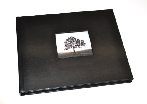 Ribbon Bound Guest Book - Guest Book with Photo Frame Cover & Lined Pages - Black Leather