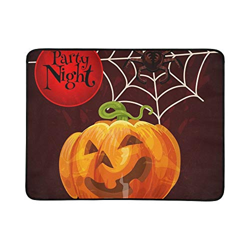 - Happy Halloween Greeting Card Scary Pumpkin Portable and Foldable Blanket Mat 60x78 Inch Handy Mat for Camping Picnic Beach Indoor Outdoor Travel