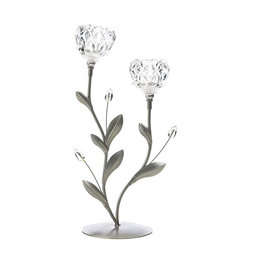 Smart Living Company Gallery of Light Crystal Flower Duo Candle Holder ()