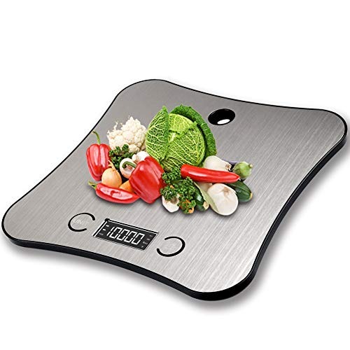 TOFOCO Digital Kitchen Scale Cooking Bake Food Scale, 1-5000g/ml Tare Function Electronic Weighing Scale LCD Display (11 lb/ 5kg)- Silver