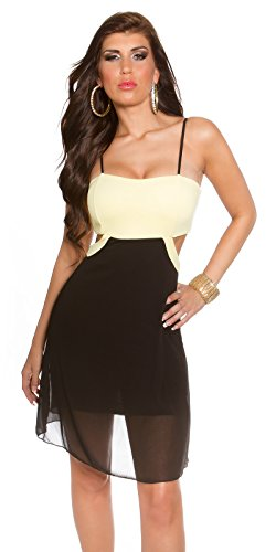 KouCla - Vestido - para mujer Amarillo / Negro