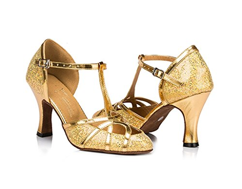Glitter Gold Dance Womens Evening Wedding Shoes Ballrom Tango Toe Shoes Latin Salsa Meijili Dance Modern Closed xqXaZFF