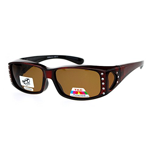 Womens Polarized Fit Over Glasses Sunglasses Rhinestone Rectangular Frame Red
