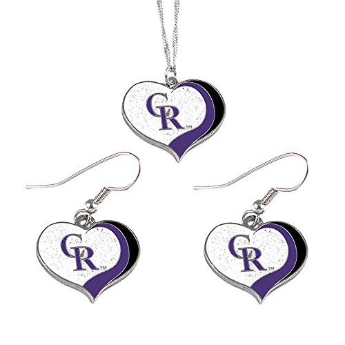 aminco Colorado Rockies MLB Sports Team Logo Charm Gift Glitter Heart Necklace and Earring Set (Charm Colorado Rockies)