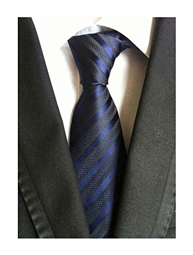 (Secdtie Men Stripe Navy Blue Black Jacquard Woven Silk Tie Formal Necktie TW015)