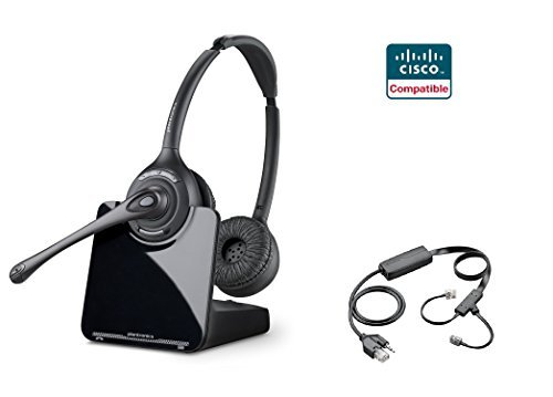 Cisco Compatible Plantronics CS520 VoIP Wireless Headset Bundle with Electronic Remote Answer|End and Ring Alert (EHS) for 6945 7821 7841 7861 7942G 7945 7945G 7962G 7965G 7975 7975G