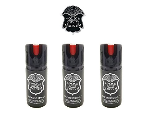 PEPPER SPRAY POLICE MAGNUM 3 Pack 2oz Safety Lock with Practice Spray by Police (Image #1)