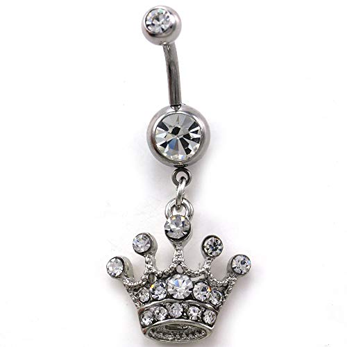 Soulbreezecollection Princess Queen Tiara Crown Belly Navel Ring Barbell Button Body 316L Surgical Steel ()