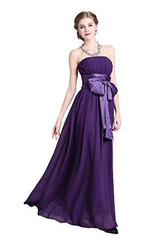 Soirée Empire Sans Bretelles De Femmes Denovelty Taille Bowknot Partie De Maxi Longue Robe Violette