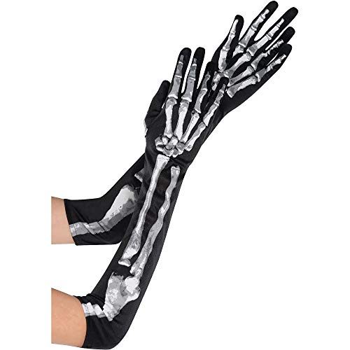 amscan Adult Long Skeleton Gloves -