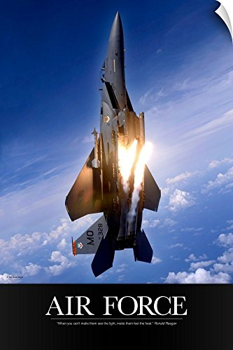 - Canvas on Demand Kate Lillyson Wall Peel Wall Art Print entitled Military Poster: An F-15E Strike Eagle pops flares 24