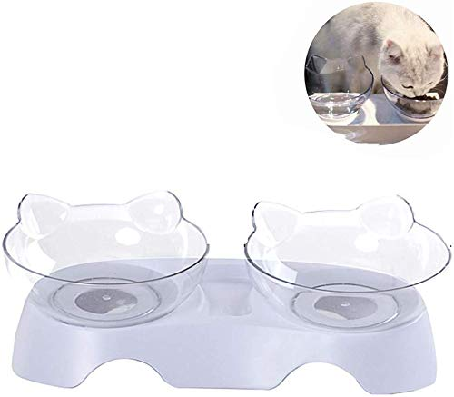 N / A Anti-Vomiting Orthopedic Pet Bowl, Cat Bowls, Cat Feeder Cat Feeding Bowl Raised with Stand, Anti-Skid & Anti-Spill, Durable, Adjustable Pet Food Water Bowl for Cats and Small Dogs