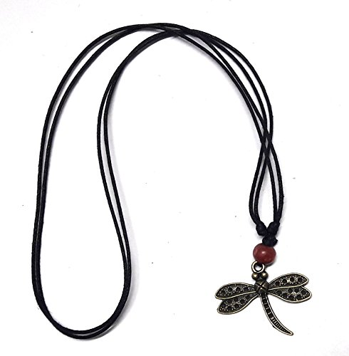 Batman And Robin Couples Costume (Mens Womens Dragonfly Pendant Necklace Wood Beaded with Adjustable Black Cord)