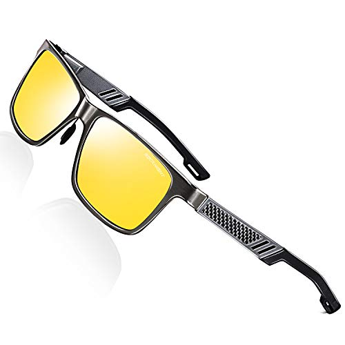 (ROCKNIGHT Polarized Driving Night Sunglasses for Men Metal Frame Sunglasses Yellow Lens Night Vision Sunglasses UV 400)
