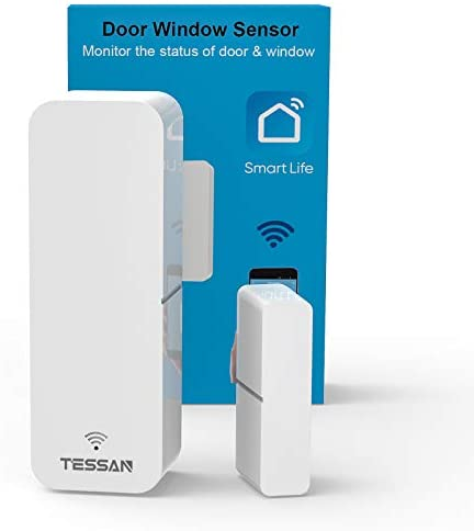 WiFi Door Sensor, TESSAN Smart Window Contact Sensor Compatible with Amazon Alexa, Google Assistant, No Hub Required, Sends Alerts, Wireless Remote Alarm, Programmable with Smart Life Devices