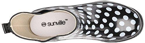 Sunville Femmes Courtes Cheville Bottes De Pluie En Caoutchouc Polka Dot