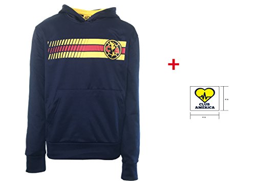 Club America Hoodie Jacket Navy Youth Boys Kids Official licensed & Sticker (Navy, YL) (Kids Jacket America Club)