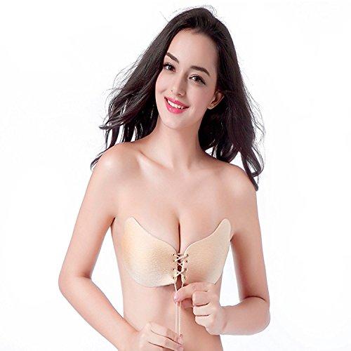 Nubra Sheer Bra (Women's Reusable Strapless Self Adhesive Strapless Bra LALA Bra Wing Shape Push-up Invisible Bra Sexy Nubra (C Cup, nude))